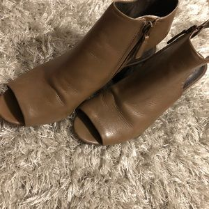 Tory Burch brown wedges open sole